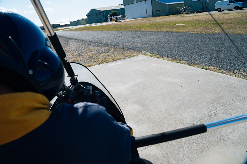 Rolling out for take off (thats Duane in front) - despite the openness of the aircraft, I felt quite safe!